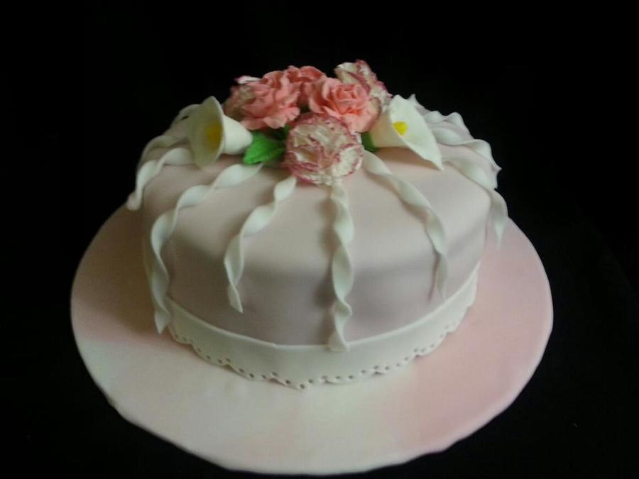 This Is A Yellow Cake With Ganache Under Fondant The Flowers Are Gumpaste  on Cake Central