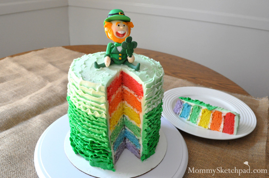 St. Patrick Rainbow Ruffle Cake on Cake Central