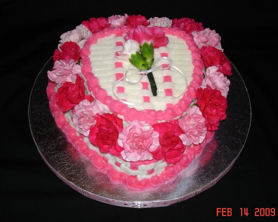 Carnation Heart Cake on Cake Central