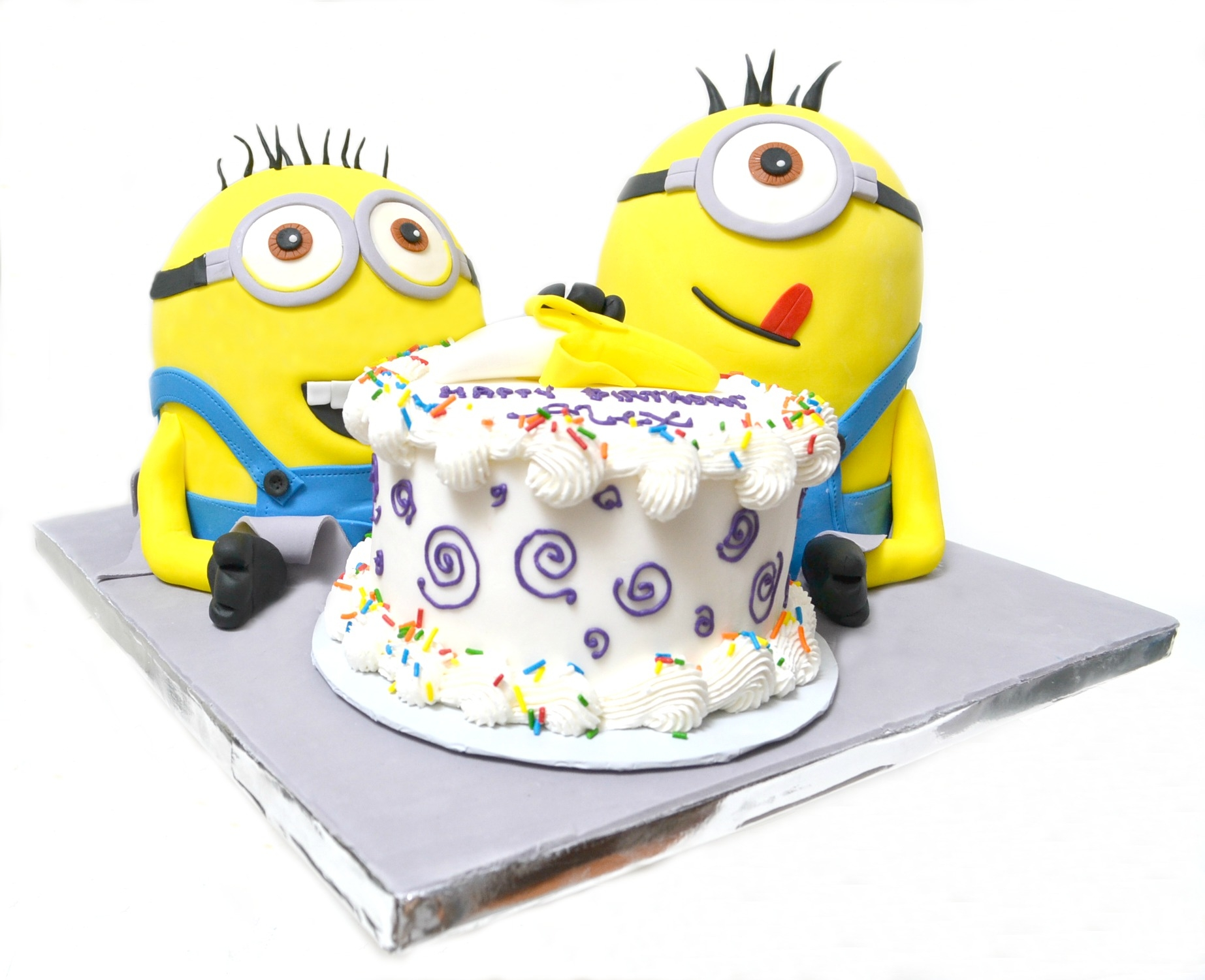 Despicable Me 2 Minions With Banana Birthday Cake - CakeCentral.com