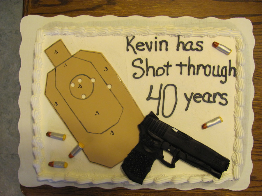 Sheet Cake Topped With Fondant Gun Bullets And Target All Were Exact Replicas Of The Items Used For Competition Shooting Matches Birthday Boy