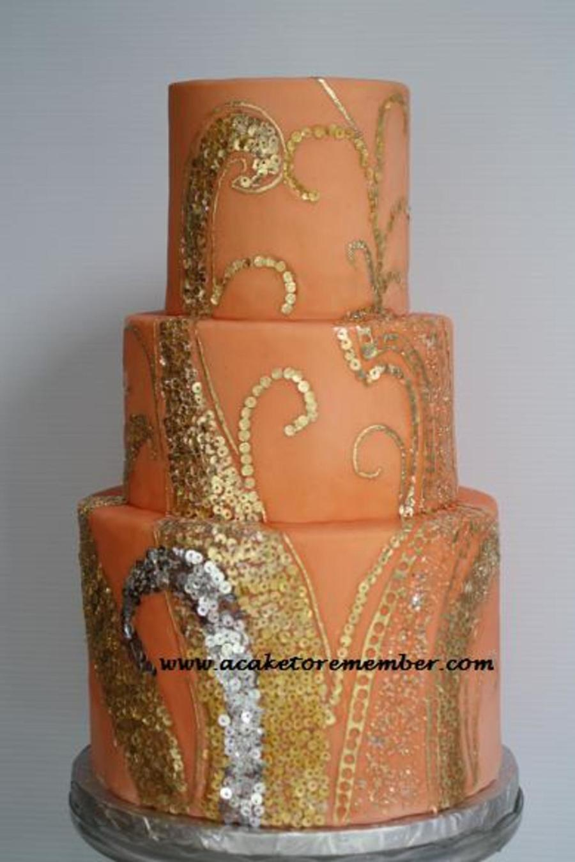 Decorating A Cake With Gold Leaf : Gold Leaf Sequins Wedding Cake - CakeCentral.com