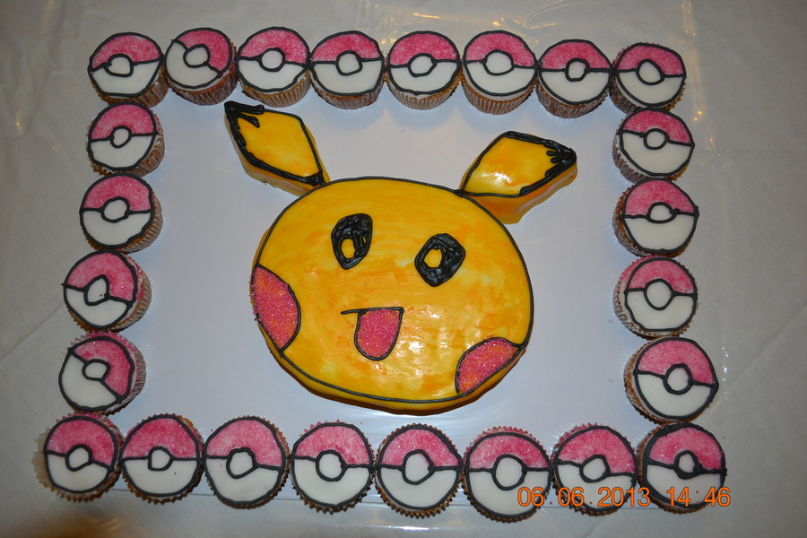 Pikachu Cake With Pokeballs on Cake Central