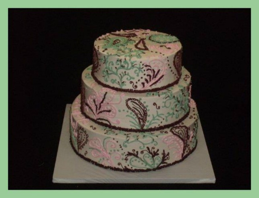 Pink And Green Paisley on Cake Central
