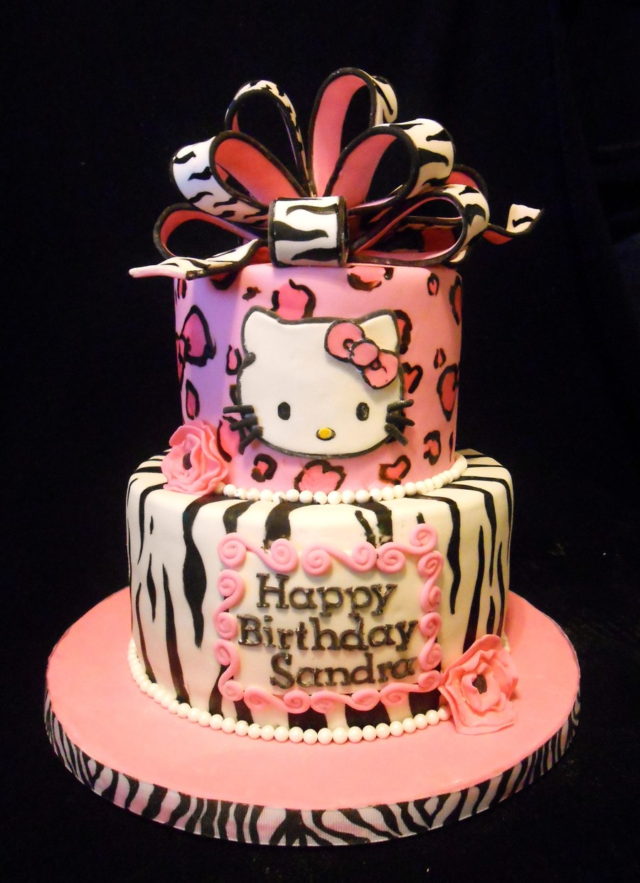 Pink Leopard & Zebra Hello Kitty on Cake Central