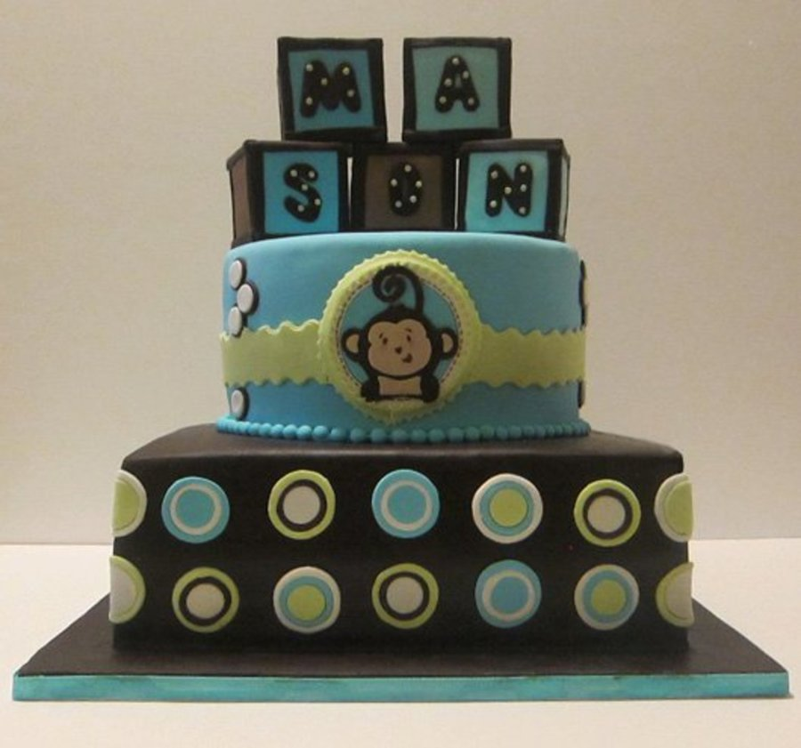 Monkey-Themed Baby Shower Cake on Cake Central