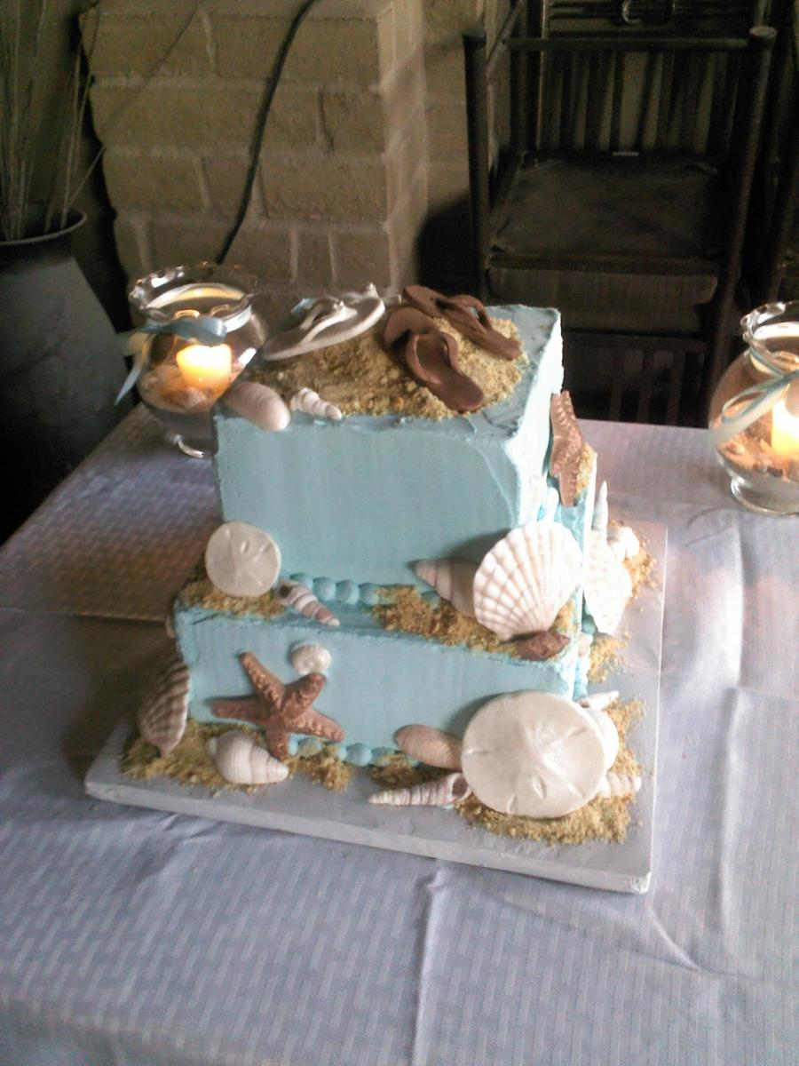 Beach Wedding Buttercream With Gumpaste Shells And Flip Flops And Cookie Crumb Sand Not A Great Photo on Cake Central