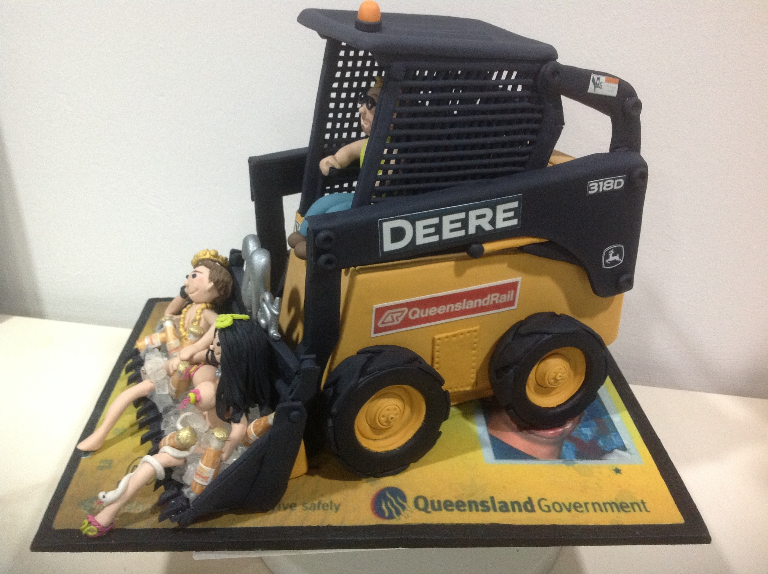 21St Birthday Cake For Man With Him Sitting In Bucket With Best Mate