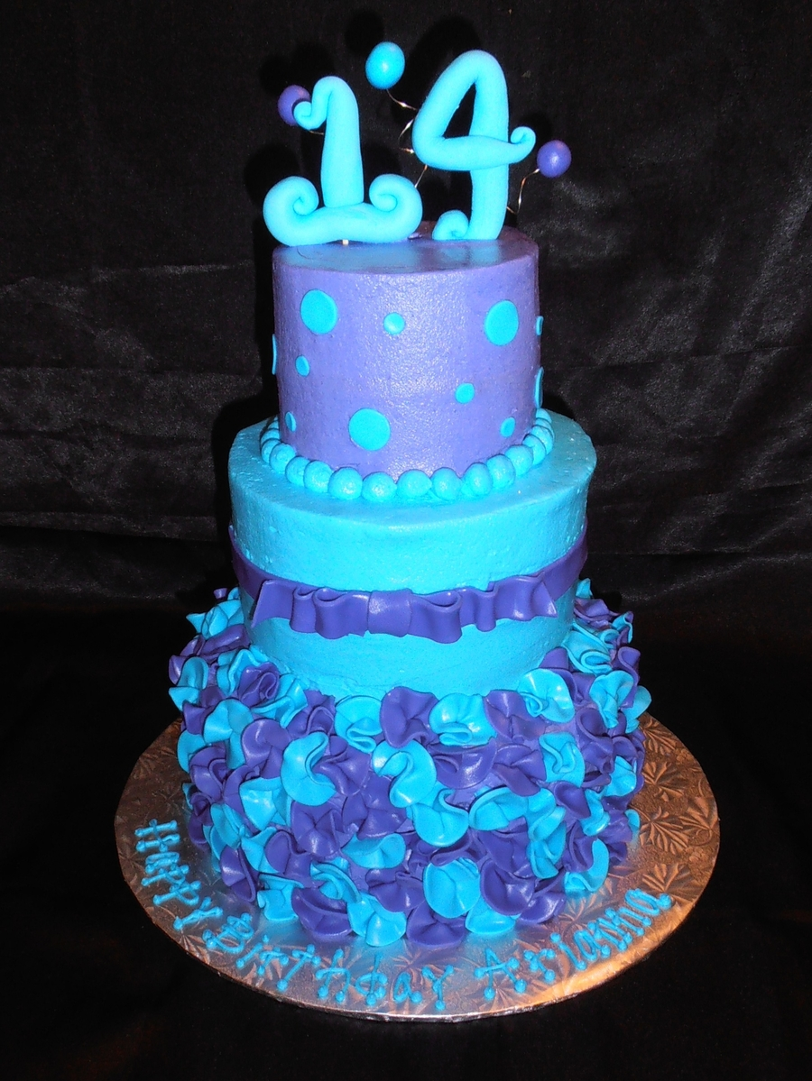 Blue And Purple 14Th Birthday On Cake Central