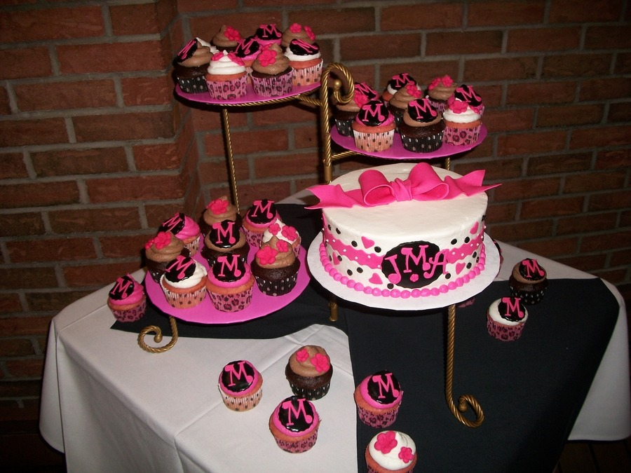 hot pink and black bridal shower cake and cuppies on cake central