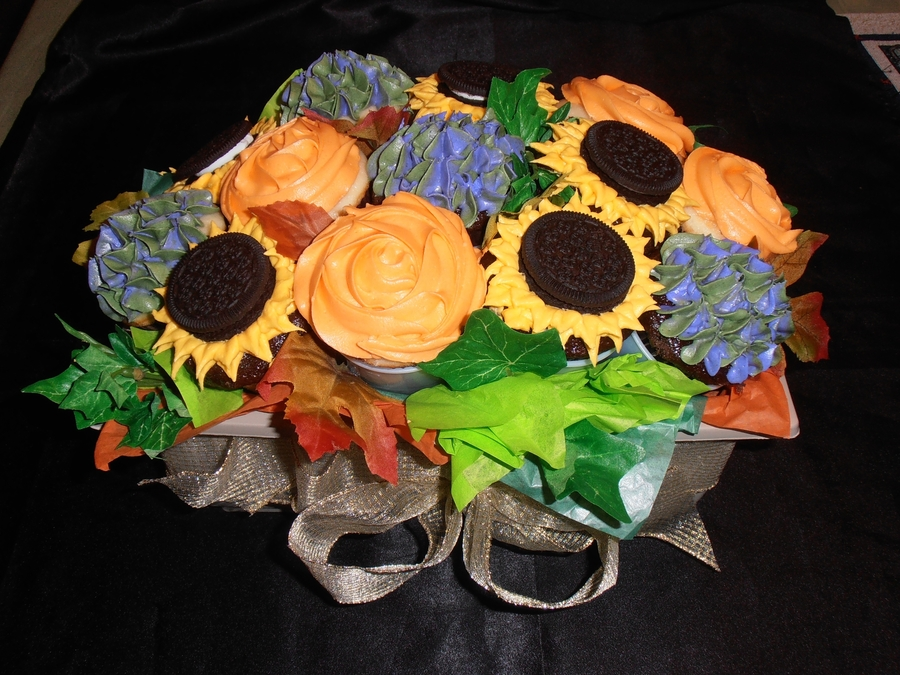 Autumn Cupcake Bouquet on Cake Central
