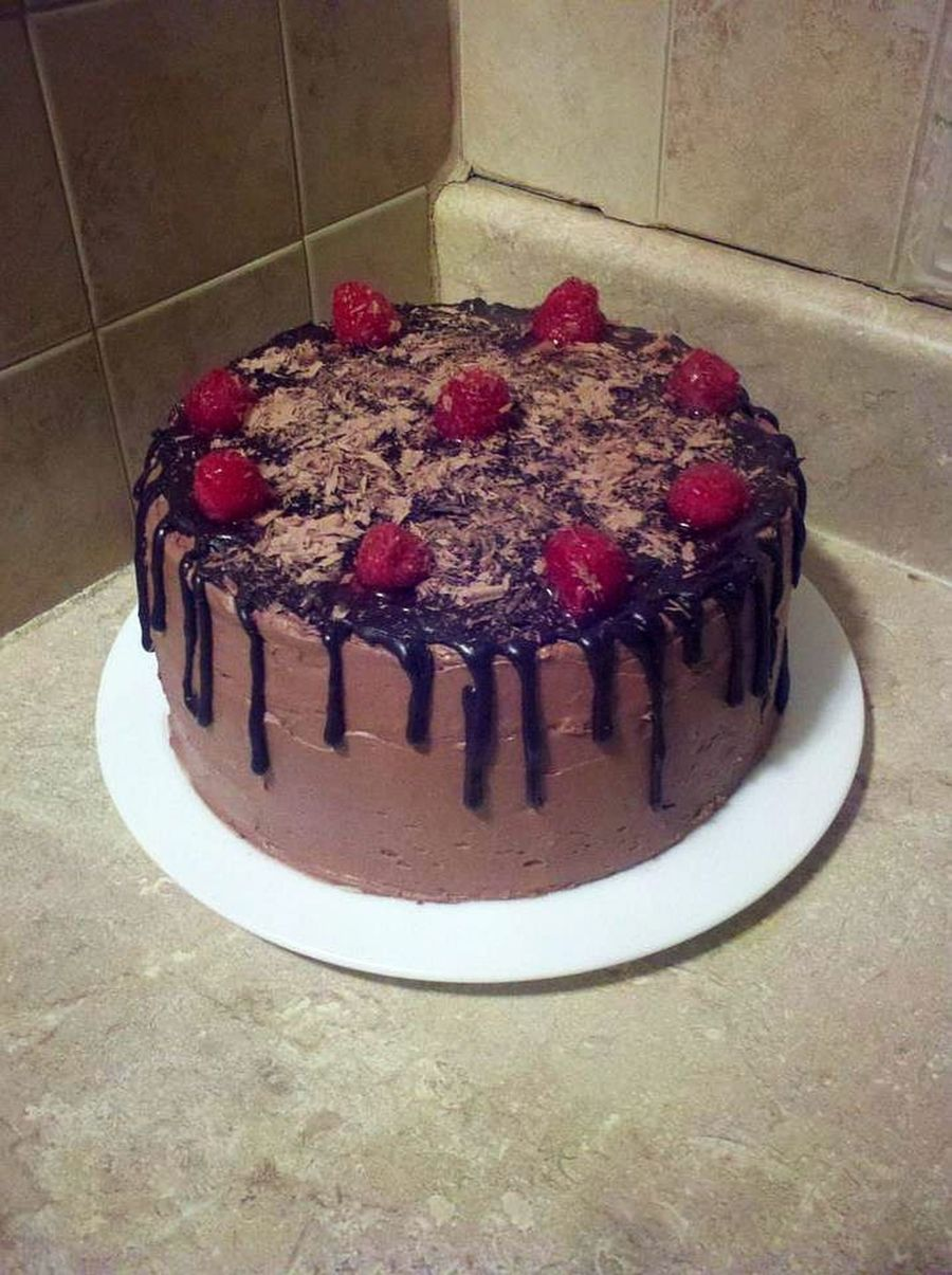 Chocolate Drizzled Raspberry Cake With Chocolate Shavings On Top Amp Raspberry Filling Inside on Cake Central