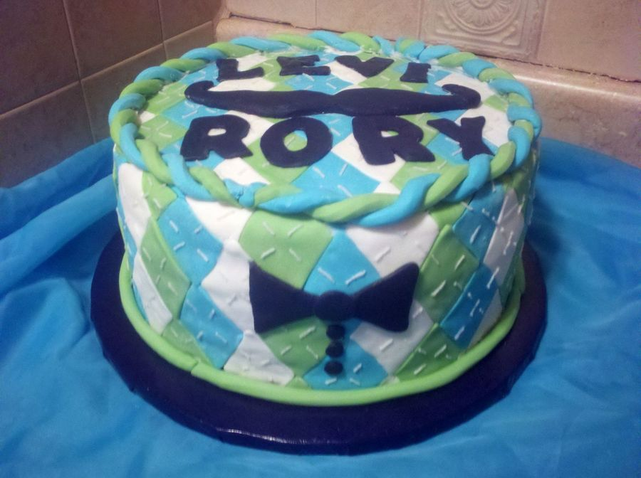 Argyle Baby Shower Bowtie Mustache Cake Cakecentral