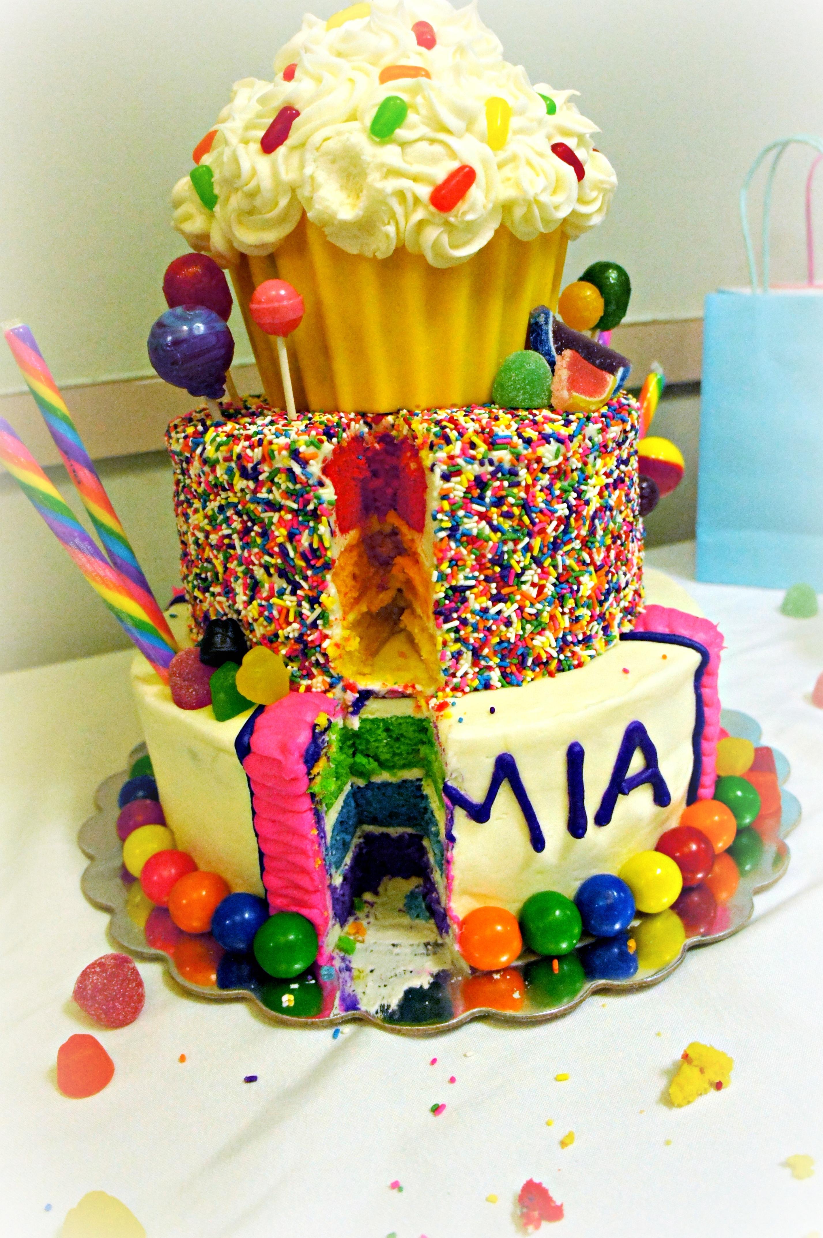Colored Layer Birthday Cake