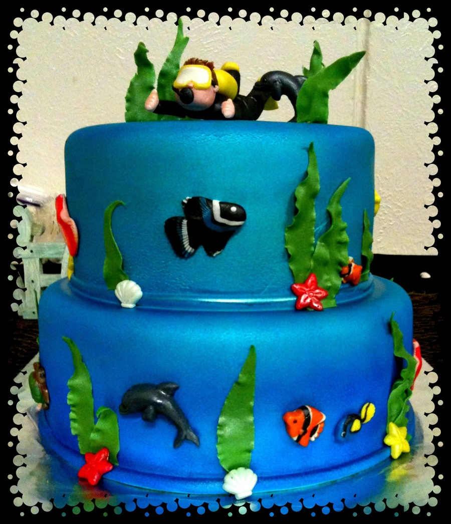 Scuba Grooms Cake on Cake Central