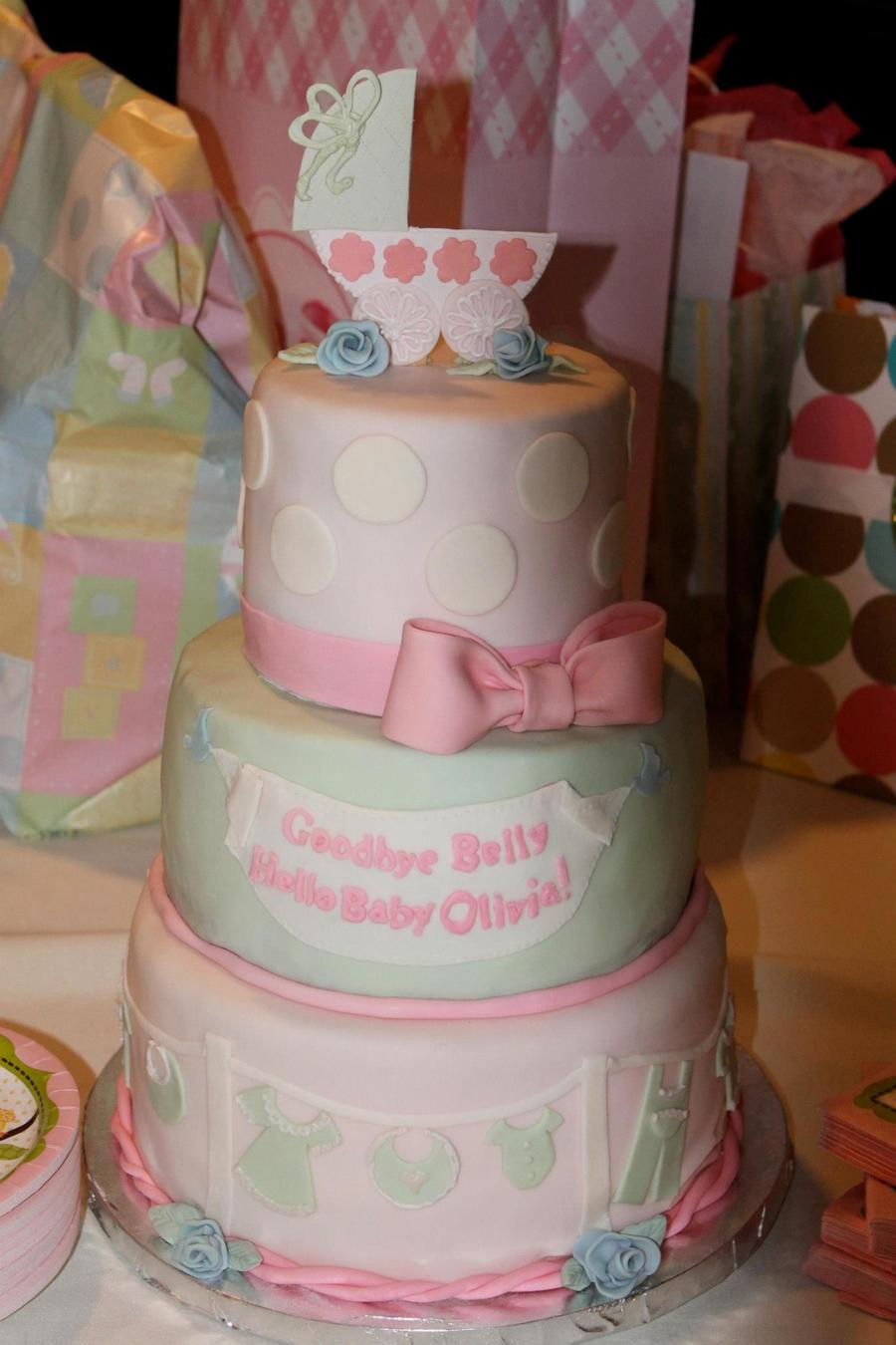 Pink & Green Baby Shower Cake on Cake Central
