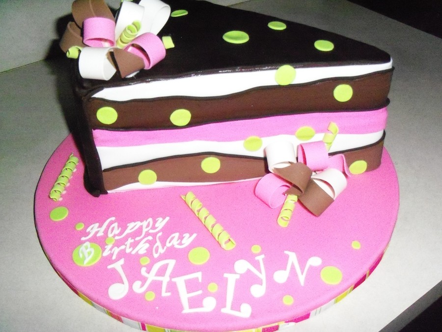 Cake Slice Cake That I Did For My Niece That Turns 12 Today Chocolate Cake Chocolate Buttercream Filling Chocolate Ganache Under The Fon  on Cake Central