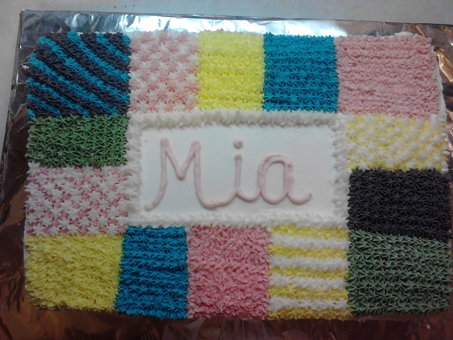 Quilted Baby Shower Cake on Cake Central