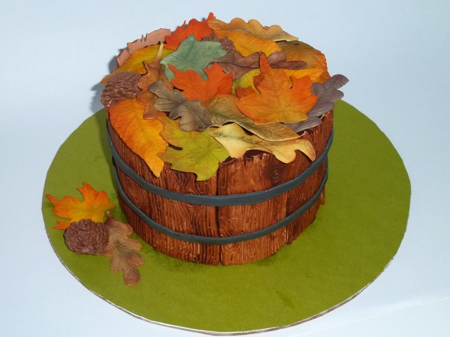 Basket Of Autumn Leaves on Cake Central