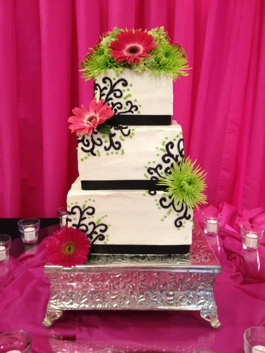 Bright Pink, Green And Black Wedding Cake - CakeCentral.com