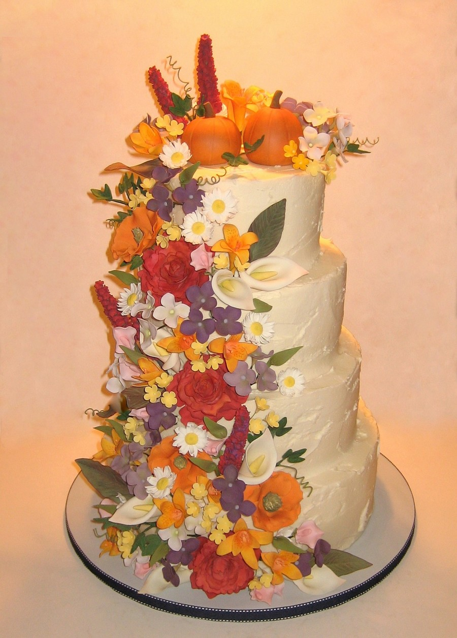 Fall Floral Wedding Cake Cakecentral Com