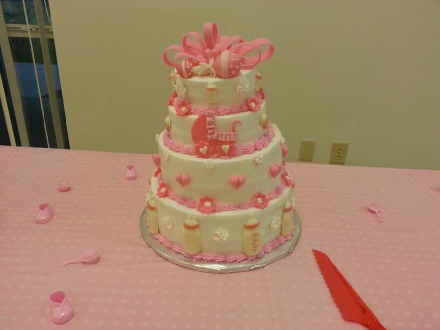 Baby Girl Tiered Shower Pink on Cake Central