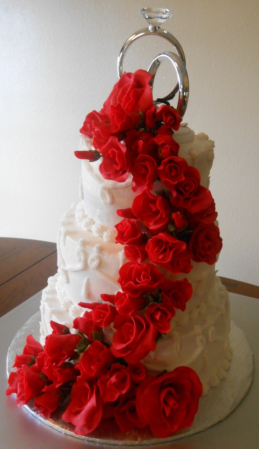 Red Roses Wedding Cake All Fondantgumpaste Was White Vanilla With Fresh Strawberry Filling And Simple Buttercream