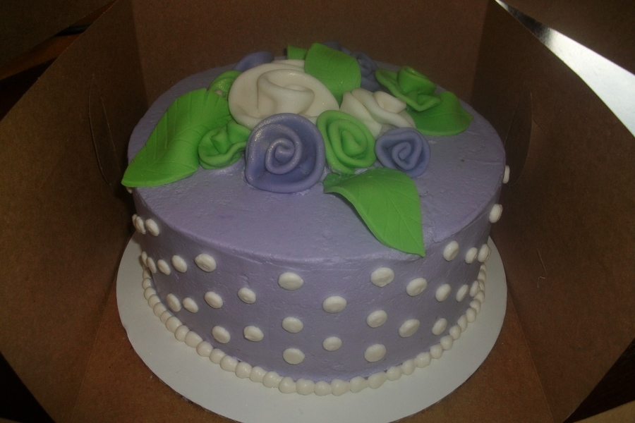 Simple Lavender And Green Rose Cake on Cake Central