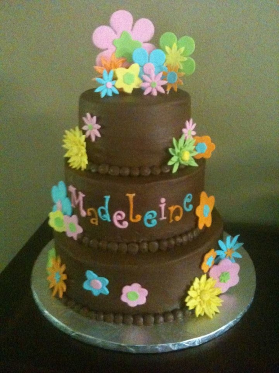 Chocolate Retro Funky Flowers on Cake Central