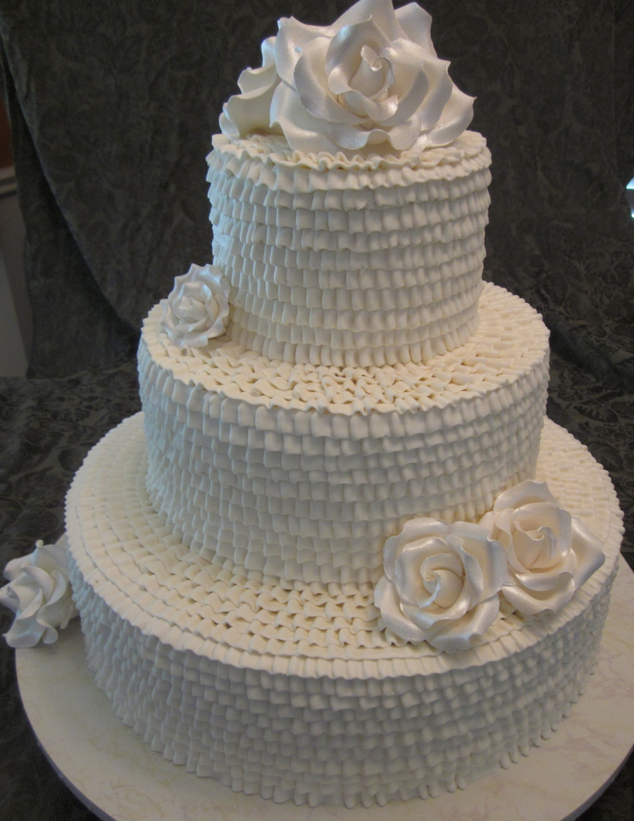 Buttercream Ruffle Wedding  on Cake Central