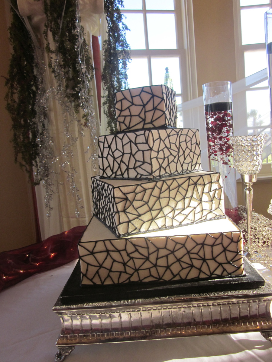 Square Black And White Wedding on Cake Central
