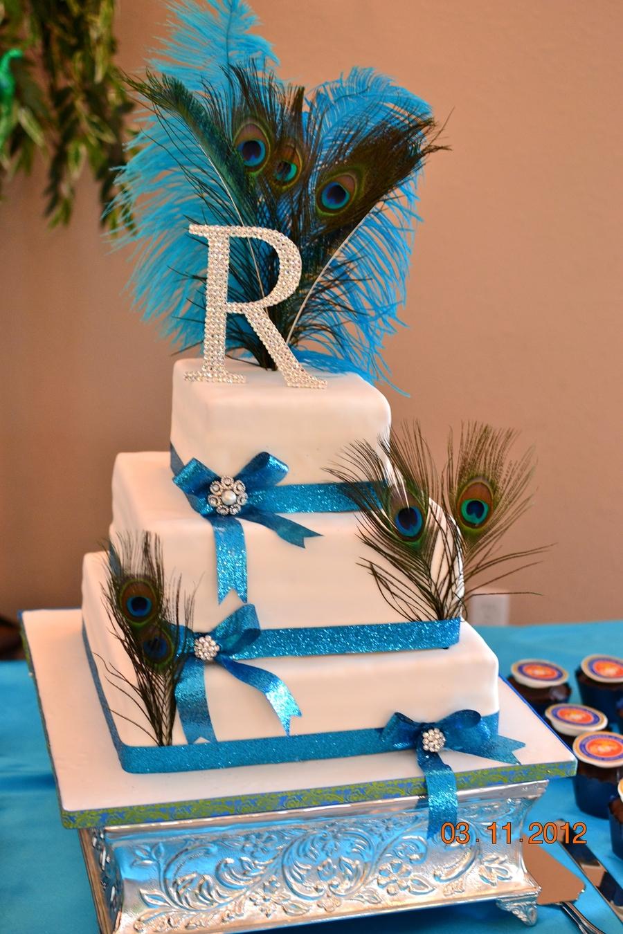 Peacock Wedding Cake.Square Peacock Wedding Cake Cakecentral Com