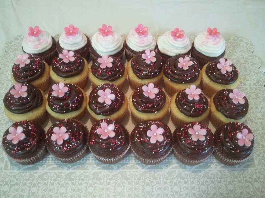 Chocolate And French Vanilla Cupcakes With Pink Fondant Flowers on Cake Central