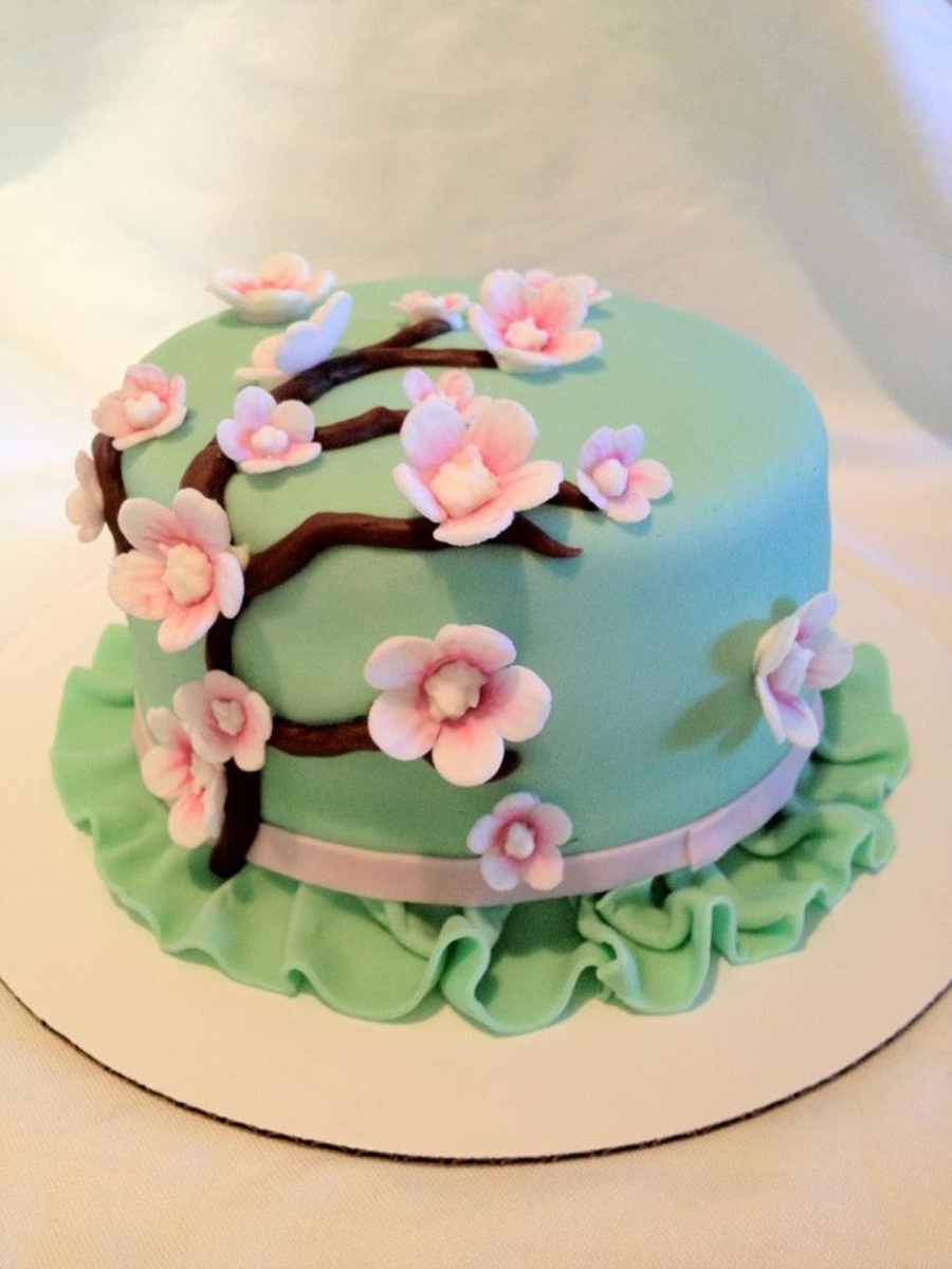 Personal Cherry Blossom Decorated Cake on Cake Central