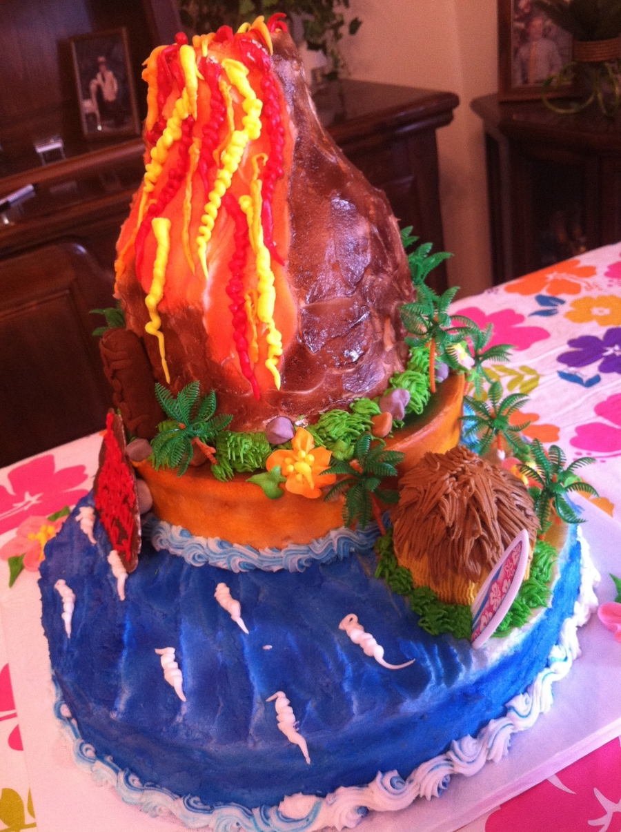 Luau Cake With Volcano on Cake Central