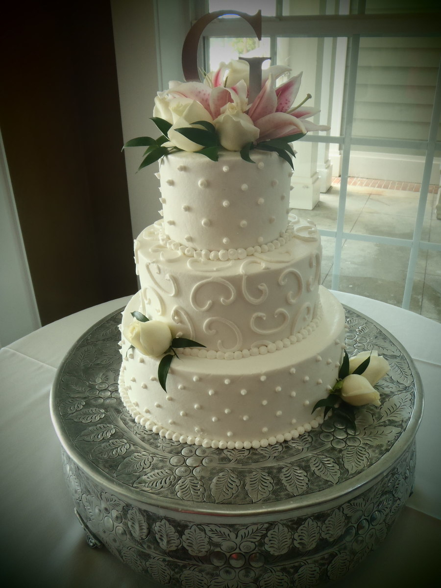 Dots And Swirls Wedding Cake on Cake Central