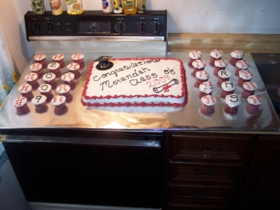 Cake And Cupcakes I Did For Our Babysitters H.s. Graduation Party on Cake Central