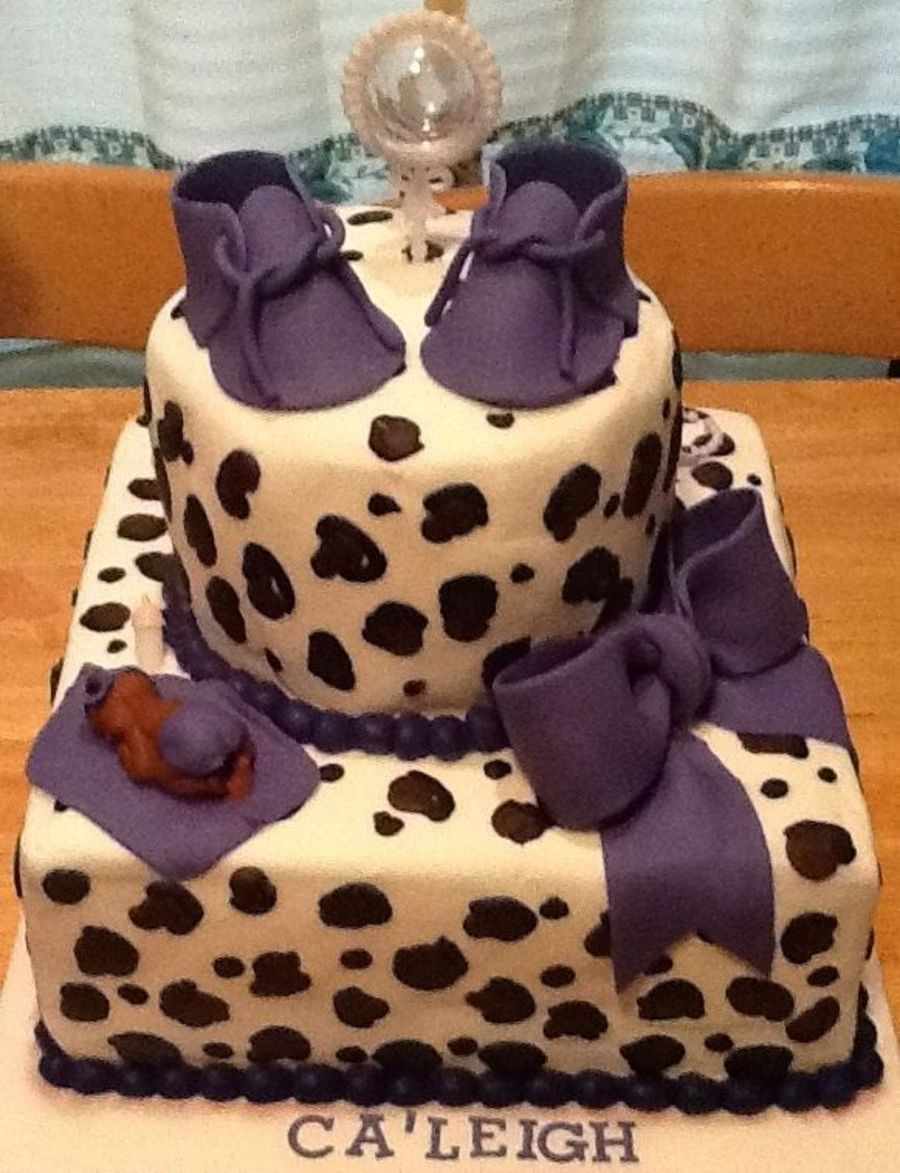 leopard print baby shower cake purple