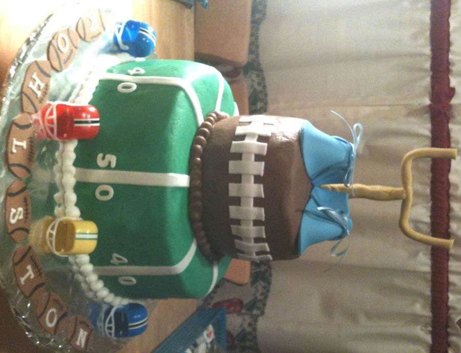 Baby Shower Cake - Football Theme  on Cake Central