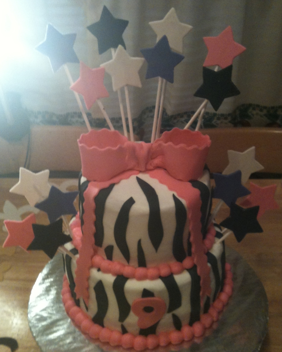 Pink Zebra Print Birthday Cake on Cake Central