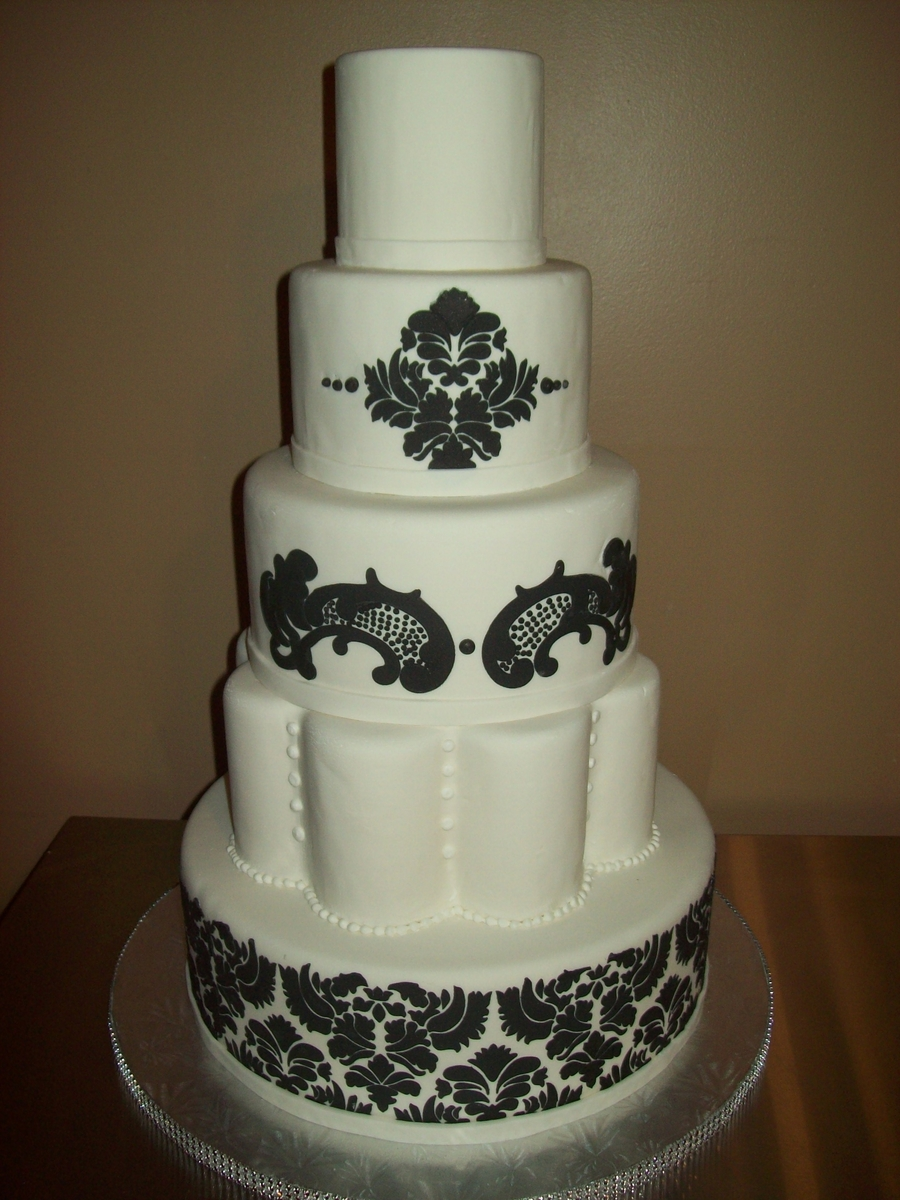 5 Tier Damask Cake on Cake Central