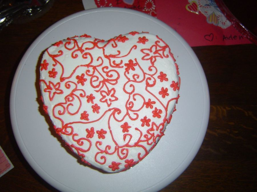 Red And White Cake on Cake Central