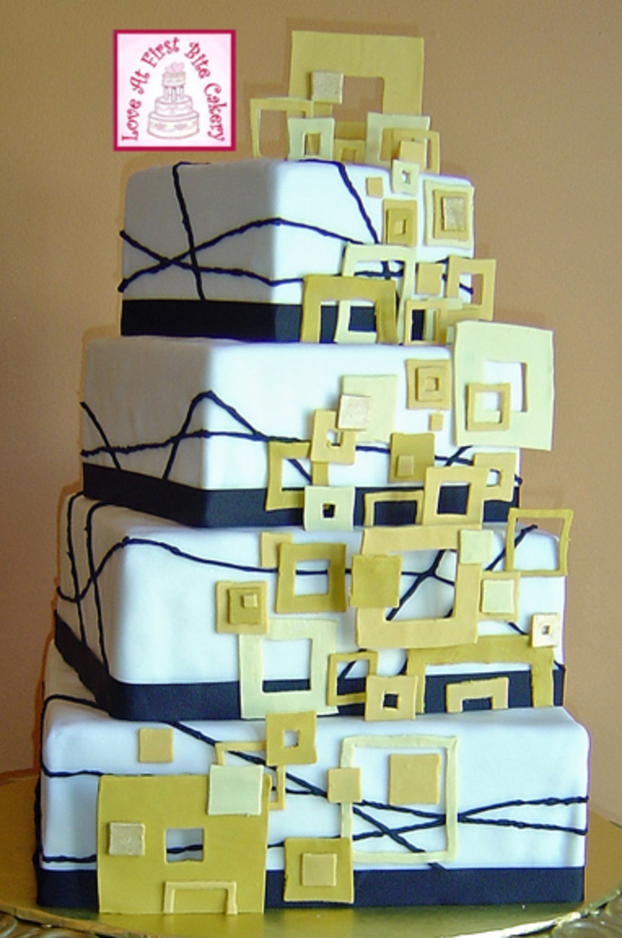 Golden Square Modern Art on Cake Central