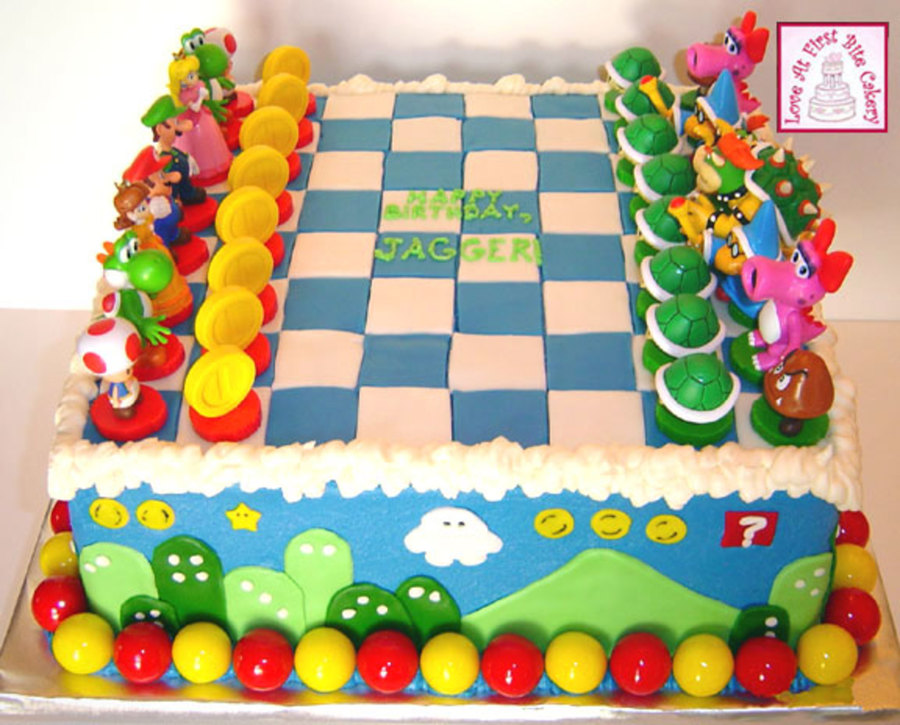 Remarkable Super Mario Chess Game Birthday Cake Cakecentral Com Funny Birthday Cards Online Overcheapnameinfo