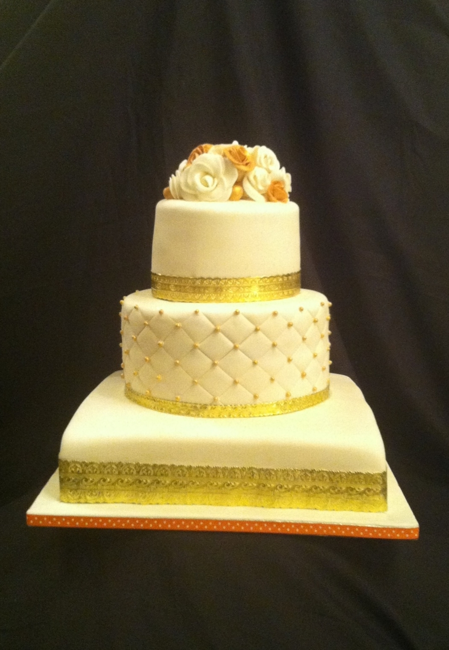 Ivory And Gold Wedding  on Cake Central
