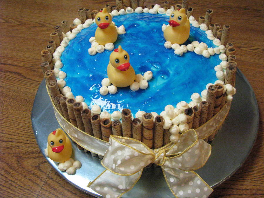Rubber Ducky In The Tub Baby Shower Cake - CakeCentral.com
