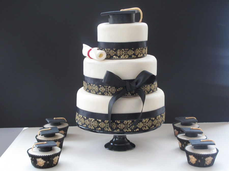 Black And Ivory Graduation Cake on Cake Central