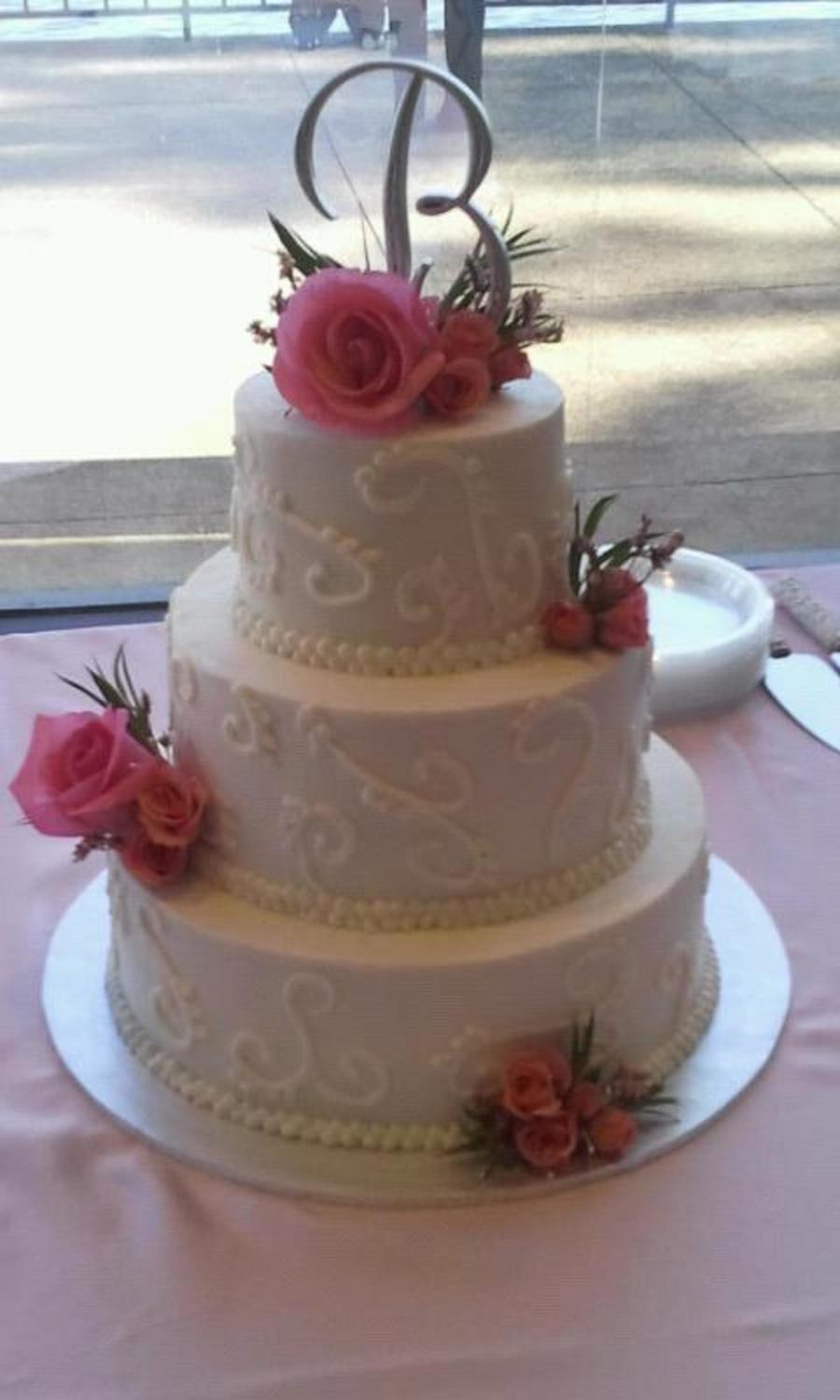 Wedding Cake With Pink Flowers on Cake Central