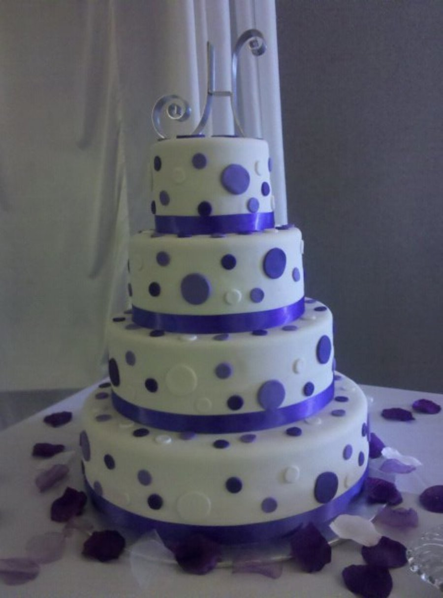 Purple Polkadot Wedding Cakes on Cake Central