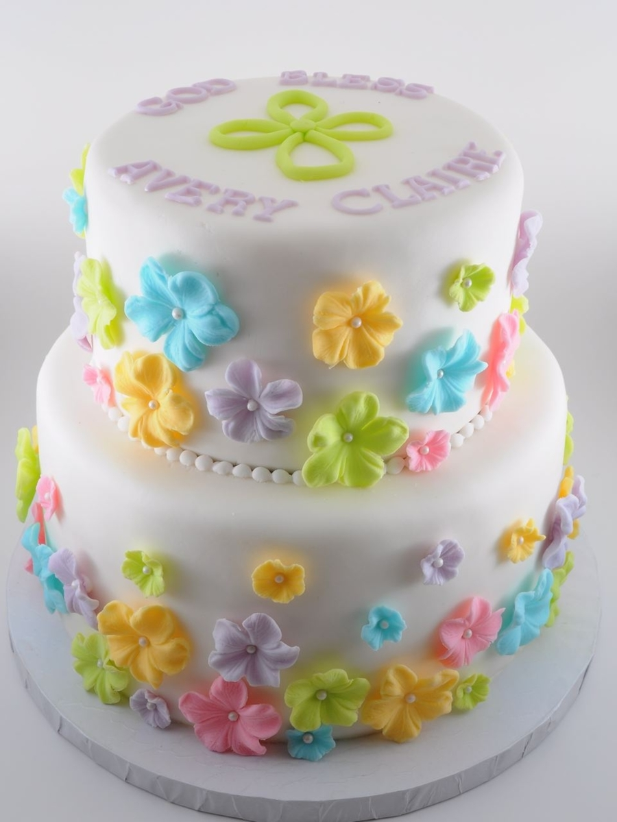 Girl baptism cake for Decoration layer cake